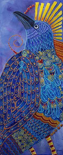 """Contemporary Bird Fine Art Painting, """"RAVEN TOTEM 3, LAPIS LAZULI"""" by Colorado Artist Nancee Jean Busse, Painter of the American West"""