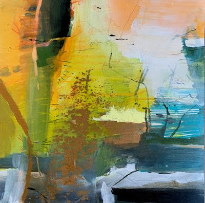 """Contemporary Landscape Painting, Abstract Art """"Earth Sky and Sea"""" by Intuitive Artist Joan Fullerton"""