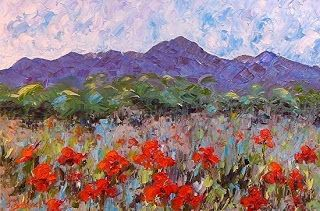 """Palette Knife Poppy Flower Landscape Painting """"In The Beginning"""" by Colorado Impressionist Judith Babcock"""