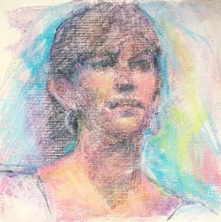"""FACIAL STUDY - 6"""" x 6"""" pastel on canvas by Susan Roden"""