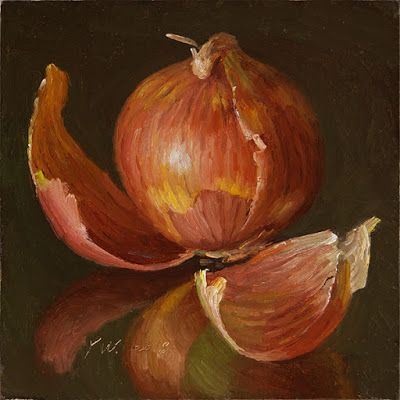An onion painting still life contemporary realism a painting a day