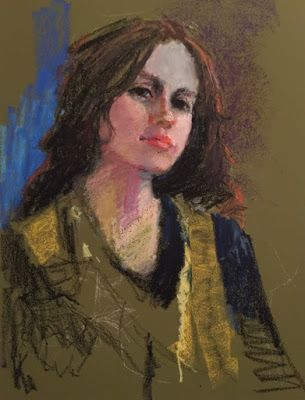 On My Easel - Portrait of a Scholar WIP - oil pastel