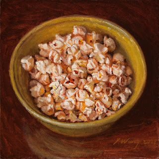 Popcorn in a bowl still life oil painting original daily painting a day food painting contemporary realism