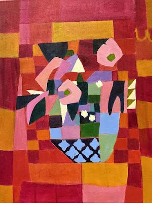 """Contemporary Bold Expressive Still Life Flower Painting """"QUILTED BOUQUET"""" by Bold Expressive Painter, Santa Fe Artist Annie O'Brien Gonzales"""