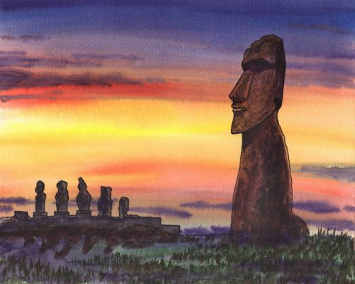 Gorgeous Sunset With Magical Statues Of Easter Island Chile Watercolor