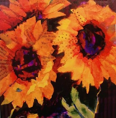 """Sunflower Art """"Sunflowers"""" by Colorado Mixed Media Abstract Artist Carol Nelson"""