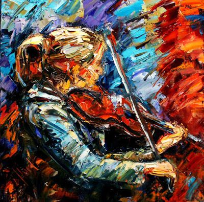 "Figurative Art Painting Colorful Paintings, Violin, Music Art ""The Recital"" By Texas Artist Debra Hurd"