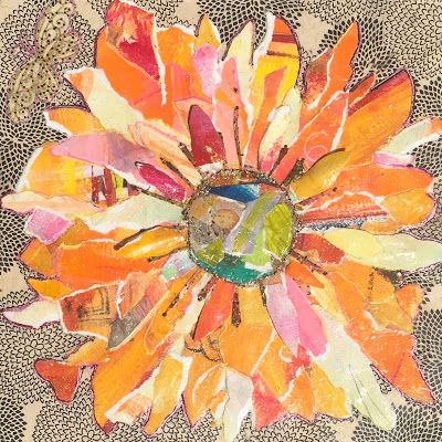 """Floral Art, Flower Painting,Textural Collage, Mixed Media """"PAPER SUNFLOWER"""