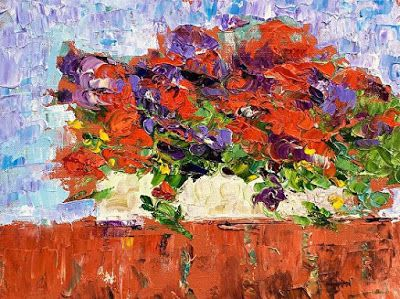 """Still Life Palette Knife Floral Fine Art Painting """"On My Patio II"""" by Colorado Impressionist Judith Babcock"""