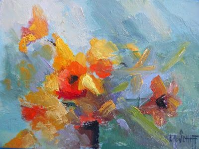 """Abstract Floral Painting, Small Oil Painting, Daily Painting, """"It's Finally Spring"""", 6x8"""" Oil on panel"""