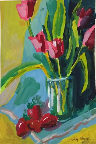 """Day 500 """"Thoughts of Spring"""" gouache"""