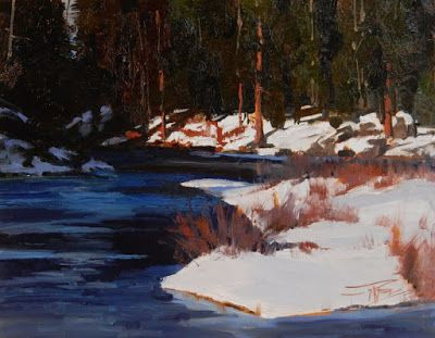 """Sunny Side"" Wenatchee River winter painting by Robin Weiss"