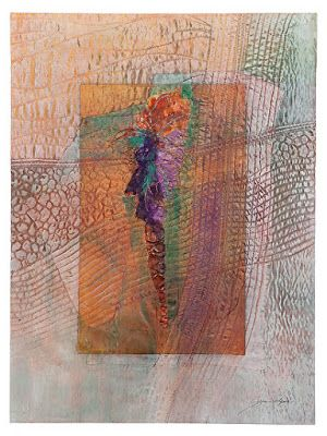 """Mixed Media, Contemporary Fiber Art """"FEATHER ON THE WIND"""" by Contemporary Artist Gerri Calpin"""