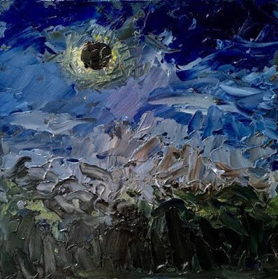 341 Eclipse 2017, Painting of the eclipse of sun and moon by Fred Bell