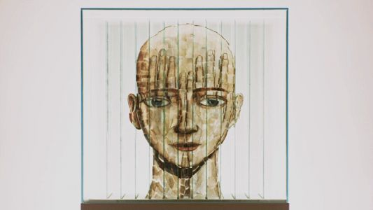 Head Instructor: A New Glass Sculpture by Thomas Medicus Analyzes the Human Mind Through Four Anamorphic Images