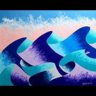 Mark Webster - Waves 4 - Abstract Geometric Ocean Landscape Oil Painting