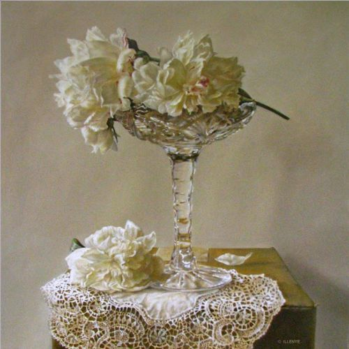 White peonies in crystal vase candy dish lace shades of white 24x24 in