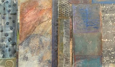 "Abstract Mixed Media Art, Contemporary Painting, ""COLUMNS IN BLUES AND BROWNS"" by Florida Contemporary Artist Mary Ann Ziegler"