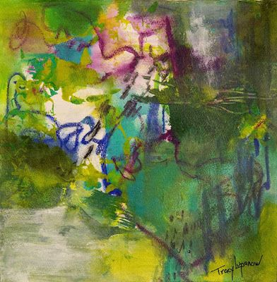 "Expressionism, Contemporary Art, Mixed Media Abstract Painting, ""Blue Bayou"" by Contemporary Artist Tracy Lupanow"