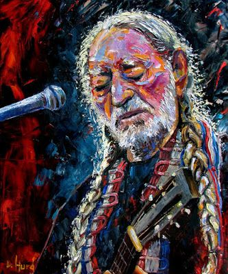 "Abstract Painting Portrait Music Art ""Willie Nelson"" by Texas Artist Debra Hurd"