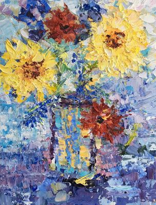 """Still Life Palette Knife Floral Fine Art Painting """"Impressions"""" by Colorado Impressionist Judith Babcock"""