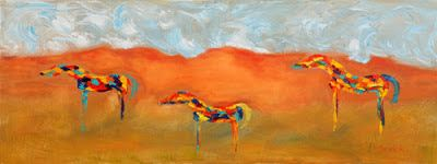 """Original Palette Knife Abstract Horse Painting """"Neigh Neigh Territory"""" by Colorado Impressionist Judith Babcock"""