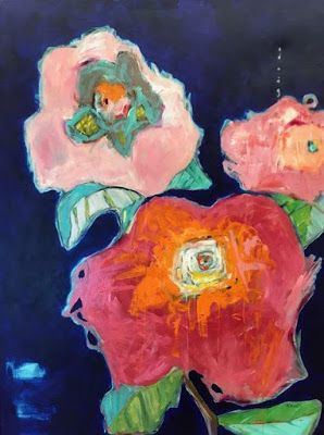 "Abstract Floral Art,Contemporary Painting, Large Flower Art ""Let's Dance"