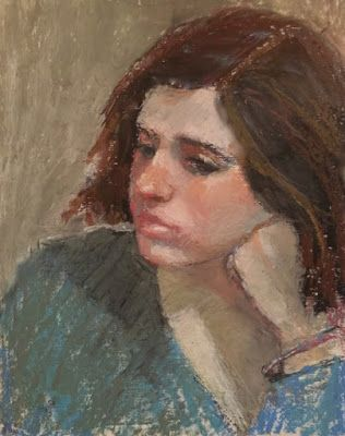 On My Easel - Pondering - oil pastel portrait painting