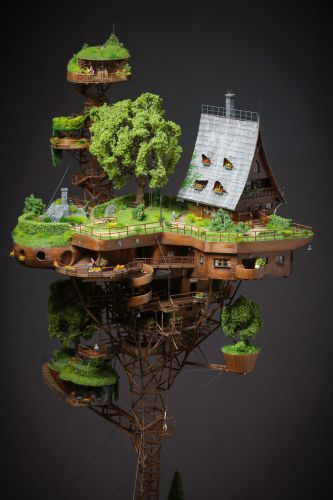 A Painstakingly Crafted Village Perches Atop a Wooden Tower in Ognyan Stefanov's Miniature Utopia