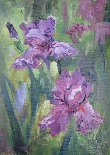 Purple Light Iris, New Contemporary Landscape Painting by Sheri Jones