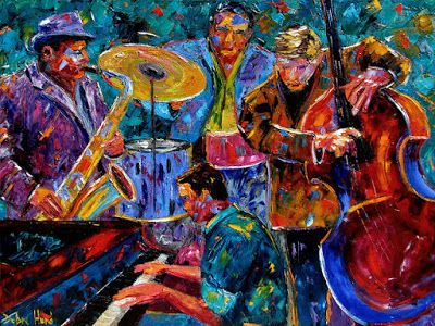 "Abstract Jazz Music Paintings Instruments Painting Fine Art ""Cool Jazz"" by Texas Artist Debra Hurd"