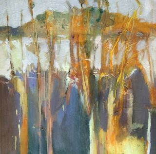 """Abstract Landscape, Botanical Painting, Fine Art For Sale """"Winter Garden"""" by Intuitive Artist Joan Fullerton"""