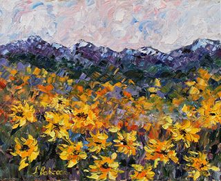"""Colorado Landscape Painting ,Sunflower Painting """"Sunflowers With a View"""" by Colorado Impressionism Artist Judith Babcock"""