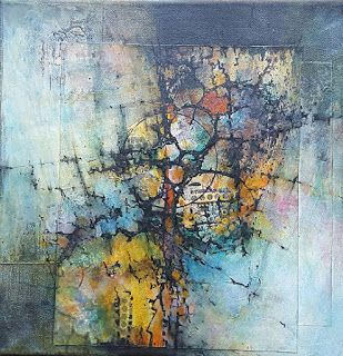 "Mixed Media, Contemporary Fiber Art ""ANCIENT URBAN SPRAWL"" by Contemporary Artist Gerri Calpin"