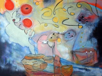 """Abstract Art, Expressionism Painting, Abstract Figure """"Family Fairytales"""