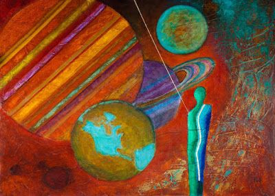 """Original Contemporary Painting, Abstract Figure, Mixed Media Art """"World's Beyond"""" Painting by Contemporary Arizona Artist Pat Stacy"""