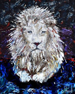 "White Lion Painting Cat Art Albino Lion Paintings Wild Animal Arts ""Snow in the Forest"" Texas Artist by Debra Hurd"