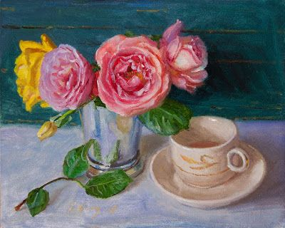 Rose flower with a cup of tea still life oil painting original