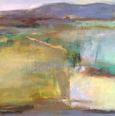 "Contemporary Abstract Landscape Painting ""Pool of Light"" by Intuitive Artist Joan Fullerton"