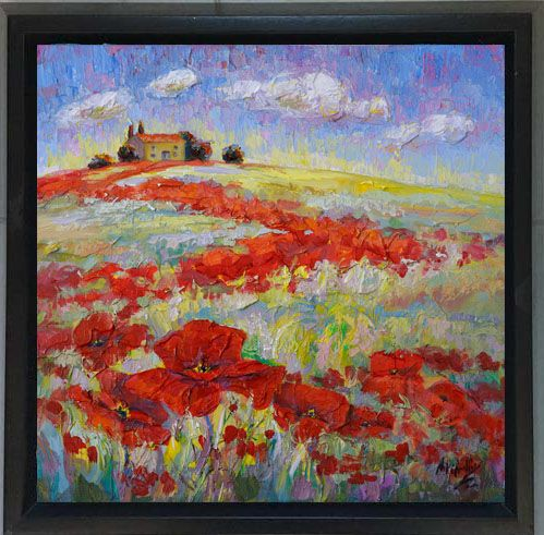 """""""Ruby Trail"""" Poppy Painting from Tuscany by Niki Gulley"""