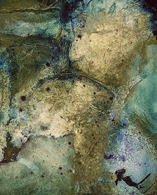 "Green Art, Abstract Painting, Mixed Media Contemporary Art ""LOOKING FROM ABOVE"" by Florida Artist Mary Ann Ziegler"