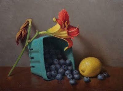 """""""Lily, Lemon and Blueberries"""" Oil on 9x12 inch board"""