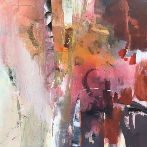 """Contemporary Abstract Art Painting """"GETTING WARMER"""" by Intuitive Artist Joan Fullerton"""
