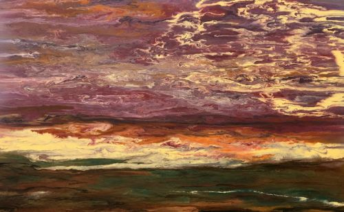 "Abstract Landscape,Sunset Art Painting ""Sky in Motion III"" by Colorado Contemporary Artist Kimberly Conrad"
