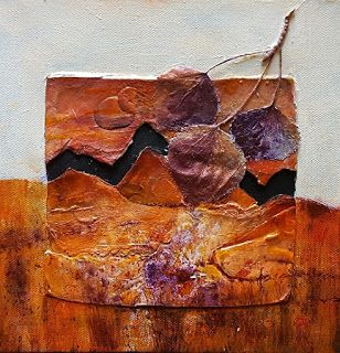 "Contemporary Fine Art Painting, Aspen Leaf,Nature Art ""Fall View"" by Colorado Artist Gerri Calpin"