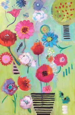 """Celebrate!"" Contemporary Abstract Floral by Amy Whitehouse"