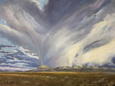 "Western Landscape Painting, Mountains, Stormy Sky, ""VALKYRIE"" Artist Nancee Jean Busse, Painter of the American West"