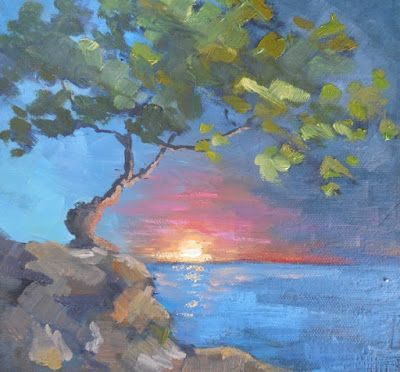 Clinging to the World, Small Oil Painting, Daily Painting, Tree Landscape