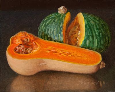 Pumpkins still life oil painting original a painting a day painting for kitchen