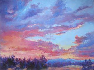 Color Infused Sunset, New Contemporary Landscape Painting by Sheri Jones